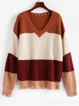 Autumn and Winter Ripped Color Elastic Full Drop V-Collar Regular Loose Casual Daily Pullovers Color Block Distressed Oversized Sweater