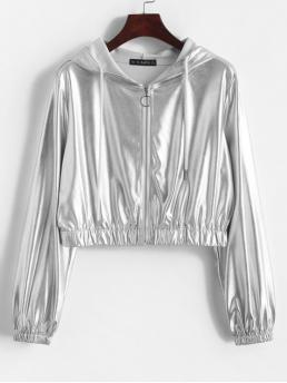 Autumn Solid Zipper Hooded Full Short High Fashion Jackets Daily and Going Metallic Hooded Zipper Short Jacket