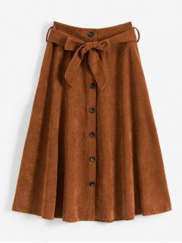 Yes Fall Button Solid A-Line Mid-Calf Daily Leisure Button Up Belted Corduroy A Line Skirt