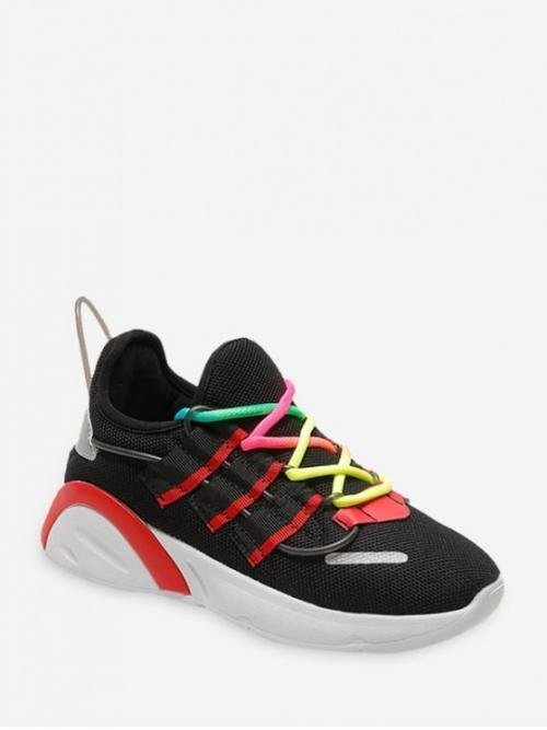 Breathable Spring/Fall Mesh Others Lace-Up For Color-blocking Breathable Mesh Running Sneakers