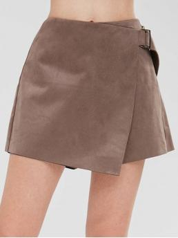 Solid Flat Zipper Mid Straight Fashion Buckled Faux Suede Skorts