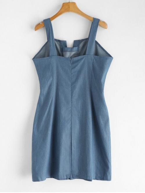 No Fall and Spring and Summer Solid Lace Sleeveless Square Mini Tank Bodycon Day Fashion Lace-up Chambray Dress