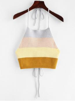 Summer Standard Patchwork Halter Short Fashion Tied Color Block Knitted Tank Top
