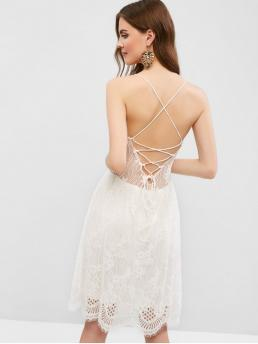 No Summer Nonelastic Solid Criss-Cross and Lace Sleeveless Spaghetti Knee-Length A-Line Day Fashion Open Back Lace Up Cami Lace Dress