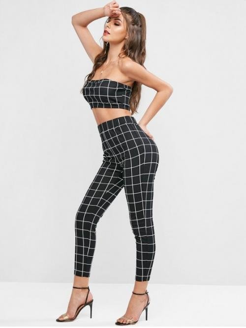 Fall and Spring Plaid Flat Elastic High Sleeveless Bandeau Regular Fashion Casual and Going Bandeau Plaid Top and Pencil Pants Two Piece Set