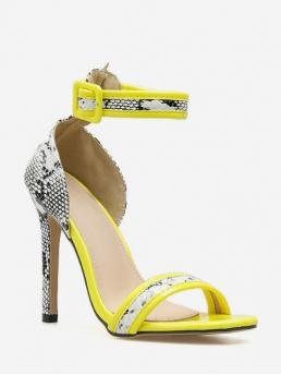 11cm Summer PU Rubber Pointed Open Stiletto Ankle Daily Fashion Pumps Stiletto Heel Ankle Strap Snakeskin Pattern Sandals