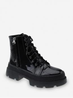Casual and Fashion PU Rubber Lace-Up Solid 6 Chunky Round Ankle Fall and Spring and Summer and Winter Fashion For Solid Color Lace-up Decoration Boots