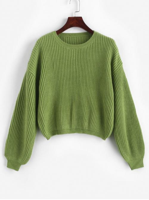 Autumn and Winter Solid Elastic Full Drop Crew Short Loose Casual Daily Pullovers Lantern Sleeves Solid Chunky Sweater