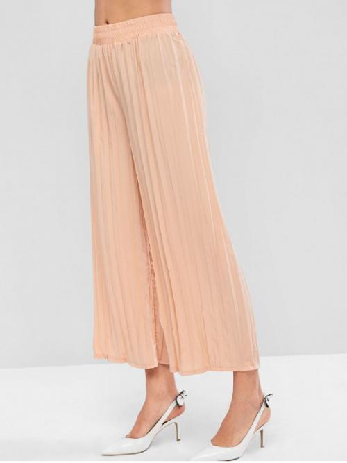 Fall and Spring No Nonelastic Elastic Wide Normal Solid Pleated Flat Loose High Fashion Solid High Waisted Pleated Wide Leg Pants