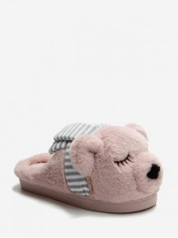 Fall and Spring and Winter Animal Casual Cute Velvet Slip-On Others Closed For Slingbacks Sleeping Bear Plush Slingback Flat Shoes