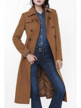 Button Solid Turn-down Full Slim Wool Fashion Long Sleeve Double-Breasted Wool Coat
