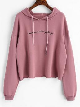 Letter Full Regular Casual Raw Hem Letter Embroidered Hoodie