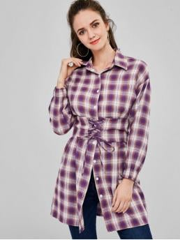 Autumn and Spring Plaid Full Long Shirt Fashion Daily and Home and Outdoor Button Up Plaid Long Belted Shirt