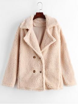 Autumn and Winter No Solid Lapel Full Long Wide-waisted Daily and Going Fashion Lapel Double Breasted Fluffy Teddy Coat