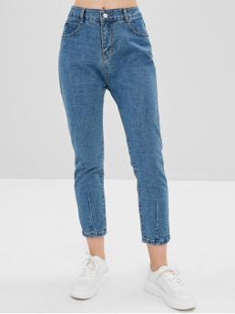Micro-elastic Fall and Spring Pocket Zipper High Regular Ninth Light Denim Fashion Plain High Waisted Straight Jeans