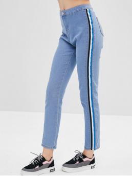 Elastic Fall and Spring Pocket Zipper High Skinny Normal Light Denim Fashion High Waisted Stripes Skinny Jeans