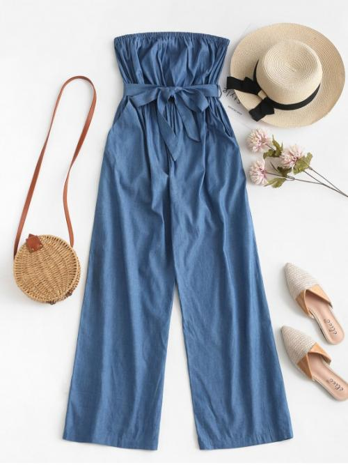 Summer Yes Solid Sleeveless Strapless Normal Straight Fashion Casual Chambray Pocket Bandeau Jumpsuit