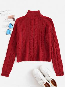 Autumn and Winter Others Elastic Full High Short Regular Casual Pullovers Cable Knit High Neck Sweater