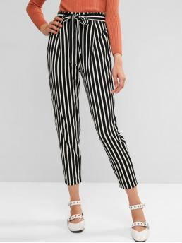 Fall Yes Elastic Straight Striped Regular High Casual Two Tone Striped Belted Paperbag Pants