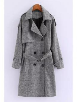 Button and Spliced Solid Turn-down Full Wide-waisted Wool Fashion Double-Breasted Wool Coat With Belt