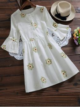Spring and Summer No Floral Embroidery 3/4 Round Mini A-Line Causal and Day Casual Floral Embroidered Flare Sleeve Dress