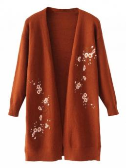 Floral Full Collarless Fashion Cardigans Long Open Front Floral Embroidered Cardigan