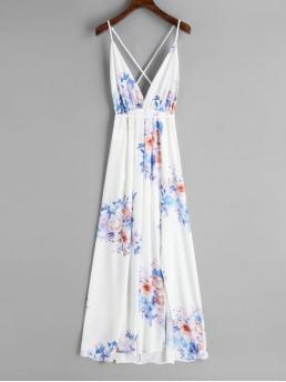 Spring and Summer No Floral Slit Sleeveless Spaghetti Ankle-Length Beach Slit Open Back Floral Maxi Dress