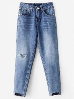 Fall and Spring Frayed and Pocket and Ripped Regular Ninth Medium Casual High Waisted Distressed Mom Jeans