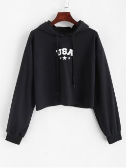 Autumn Letter Full Short Drop Hoodie Letter Graphic Crop Drawstring Hoodie