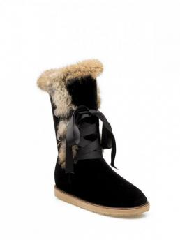 Winter Microfiber 2CM Solid Lace-Up Flat Round 32CM 24CM Mid-Calf Snow For Ribbon Furry Snow Boots