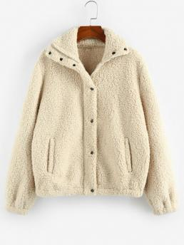 Full Sleeve Wide-waisted Polyester Solid Plain Pocket Teddy Coat on Sale