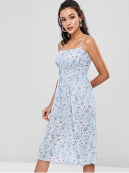 No Fall Floral Sleeveless Spaghetti Knee-Length Slip A-Line Beach and Day and Vacation Cute Shirred Floral Cami Dress