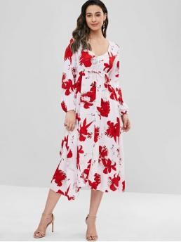 Fall No Floral Button Empire Long V-Collar Mid-Calf Casual  A Floral Button Embellished Empire Waist Dress