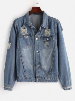 Nonelastic Autumn and Spring Front Solid Single Shirt Full Regular Wide-waisted Casual Jackets Daily Zippered Sleeve Ripped Denim Jacket
