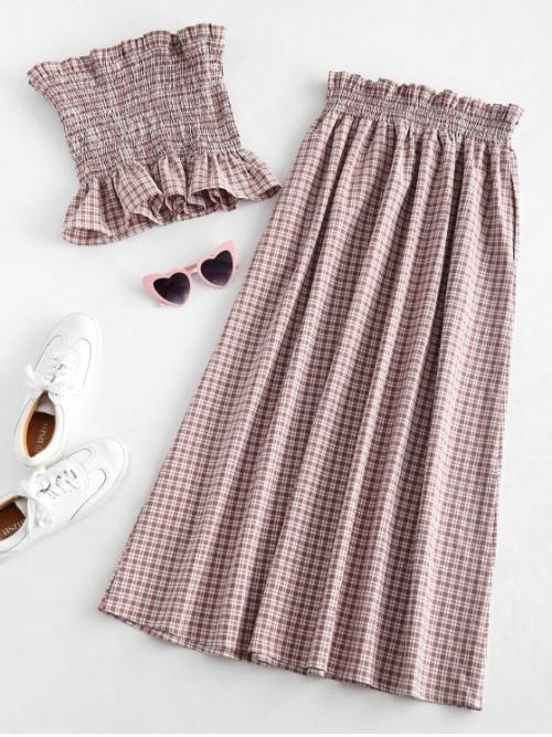 No Spring and Summer Ruffles Gingham Flat Elastic High Sleeveless Bandeau Regular Fashion Casual  and Daily and Going Gingham Smocked Tube Top and Skirt Set