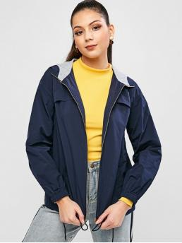 No Nonelastic Autumn and Spring and Winter Pockets and Zippers Others Zipper Hooded Full Regular Wide-waisted Fashion Jackets Daily and Going Contrast Zip Up Hooded Windbreaker Jacket
