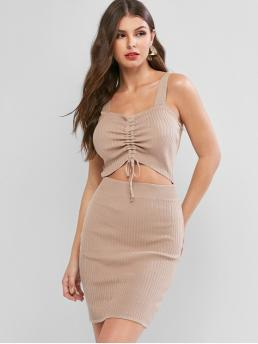 No Fall and Spring Solid Backless and Cut Sleeveless Sweetheart Mini Bodycon Cocktail Sexy Cinched Cutout Ribbed Knit Sweetheart Neck Dress