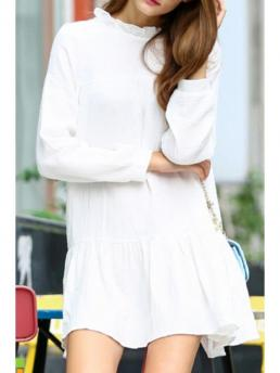 Fall No Solid Ruffles Long Stand Straight Mini Casual White Stand Neck Long Sleeve Dress