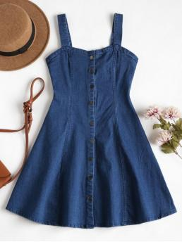No Fall and Spring and Summer Solid Sleeveless Sweetheart Mini Skater A-Line Day Cute Denim Pinafore Mini Skater Dress