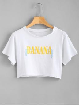 Summer Letter Short Round Crop Casual Crop Letter Print Tee