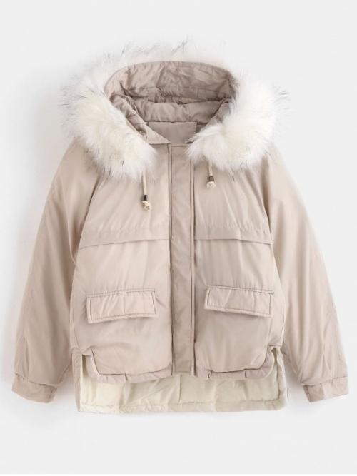 Solid Hooded Full Regular Wide-waisted Fashion Faux Fur Hood Quilted Short Winter Coat