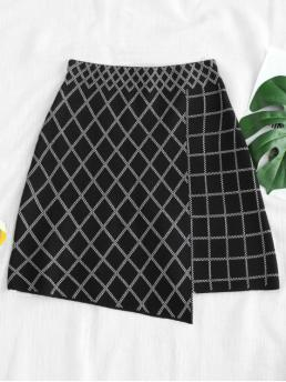No Elastic Fall and Spring and Winter Elastic Argyle A-Line Mini Daily and Going Fashion Argyle Pattern High Low Hem Knitted Skirt
