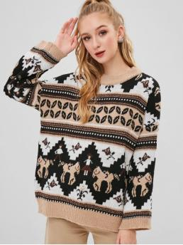 Winter Micro-elastic Full Drop Crew Regular Loose Fashion Daily and Going Pullovers Drop Shoulder Tunic Graphic Sweater