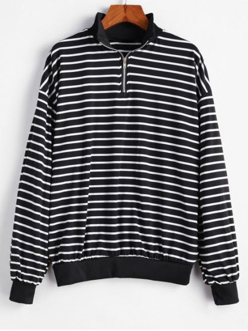 Autumn and Spring and Winter Zipper Striped Elastic Full Regular Drop Mock Sweatshirt Drop Shoulder Stripes Zip Front Sweatshirt