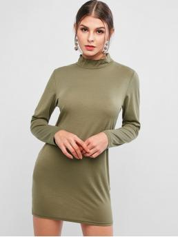 No Fall and Spring Solid Long Mock Mini Bodycon Casual and Day Casual Basic Mock Neck Long Sleeve Bodycon Dress