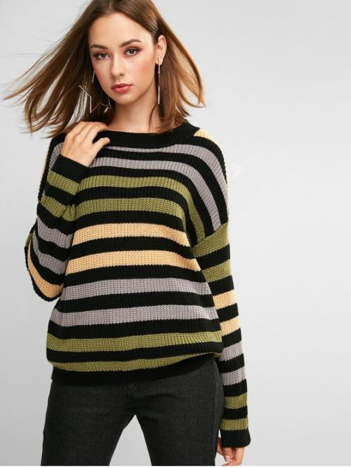Autumn and Winter Striped Elastic Full Drop Crew Regular Regular Fashion Daily and Going Pullovers Striped Textured Drop Shoulder Sweater