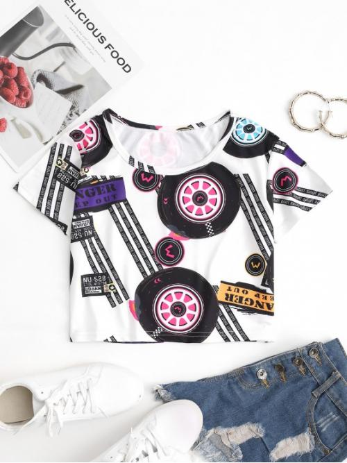 Short Sleeve Cotton,polyester Print White Motorcycle Cropped Graphic Tee Pretty