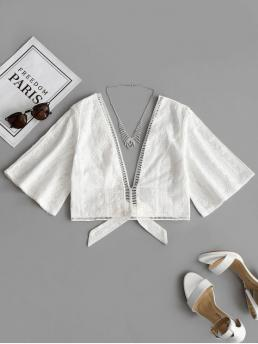 Bowknot Others 1/2 Short Plunging Fashion Casual Crochet Panel Bowknot Hem Blouse