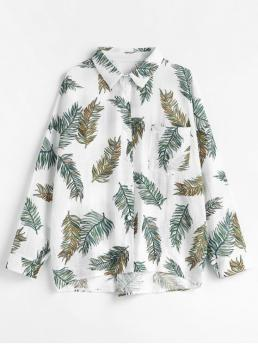 Autumn and Spring Front Leaf Full Drop Regular Nonelastic Shirt Casual Daily Leaf Print Cotton Shirt