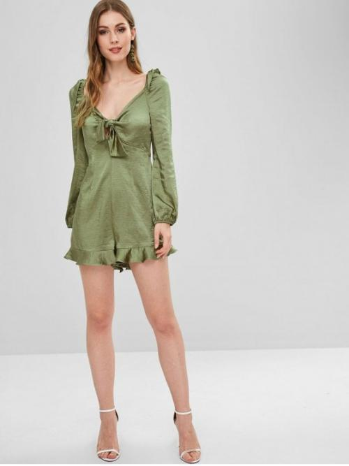 Fall No Ruffles Solid Long Plunging Regular Casual Casual Empire Waist Knotted Satin Romper